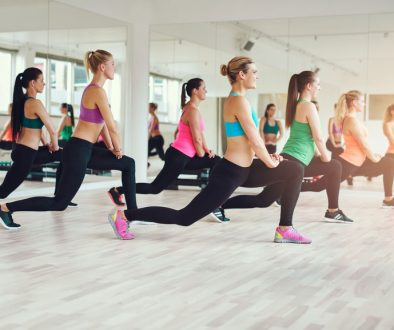 Group of fit and healthy women exercising